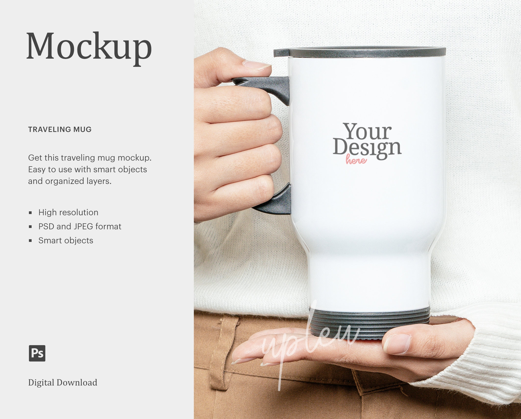 Photoshop PSD Smart Object and JPG Travel Mug Mockup Black Coffee Travel Cup Mock-Up Travel Mug Mockup