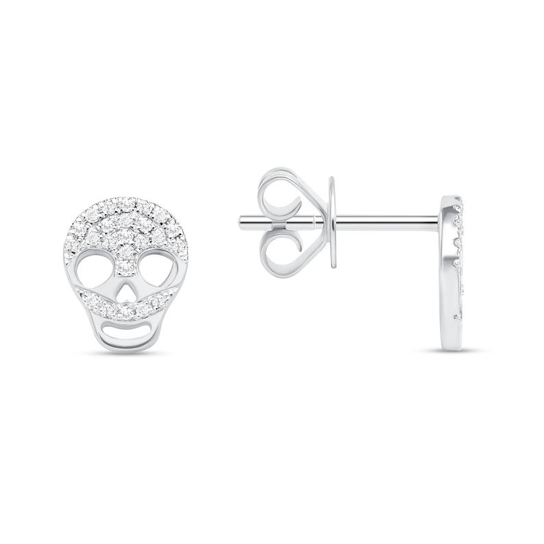 14k Gold Diamond Skull Earrings image 0
