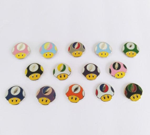 Dead Mushroom Caps - Shrooms - Glow Toads - Mario Kart - Glow Lapel Pins