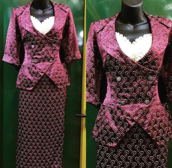 Striking 40's paisley patterned suit