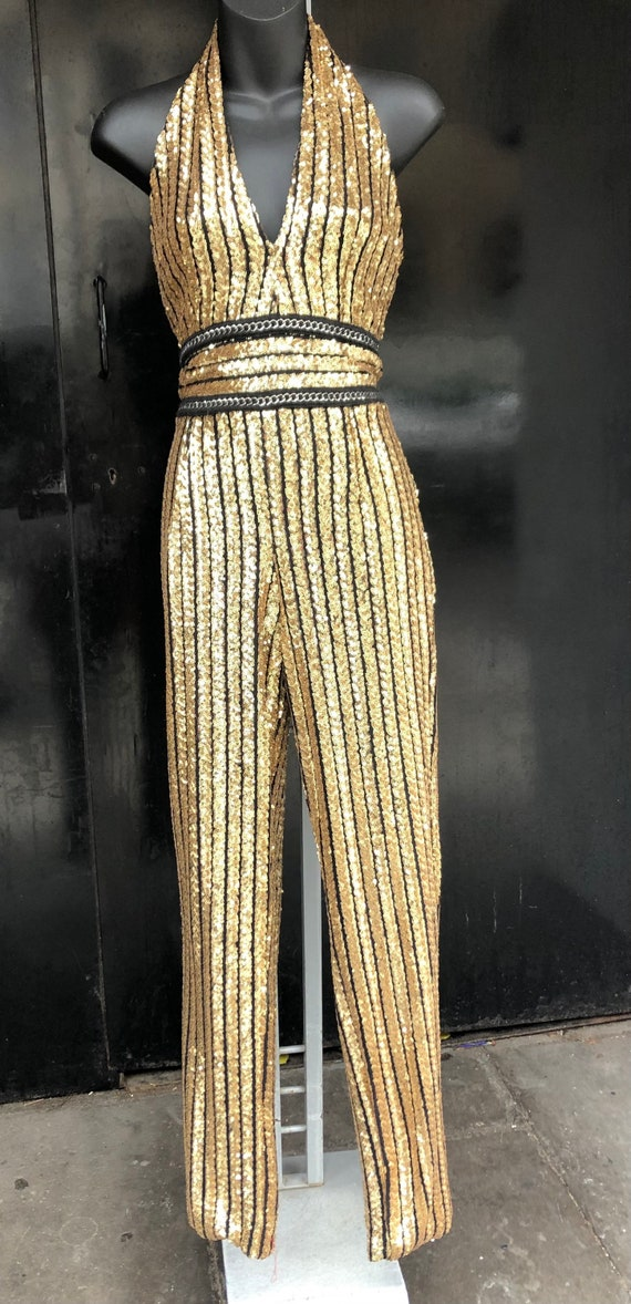 1990's gold sequin catsuit
