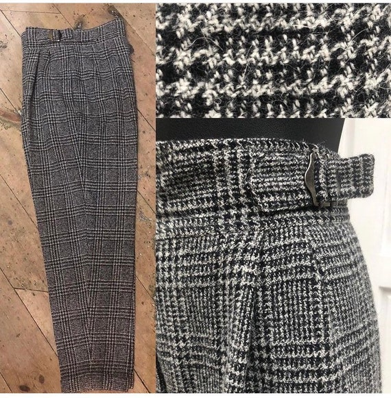Stylish ladies wool check 80's does 40s trousers