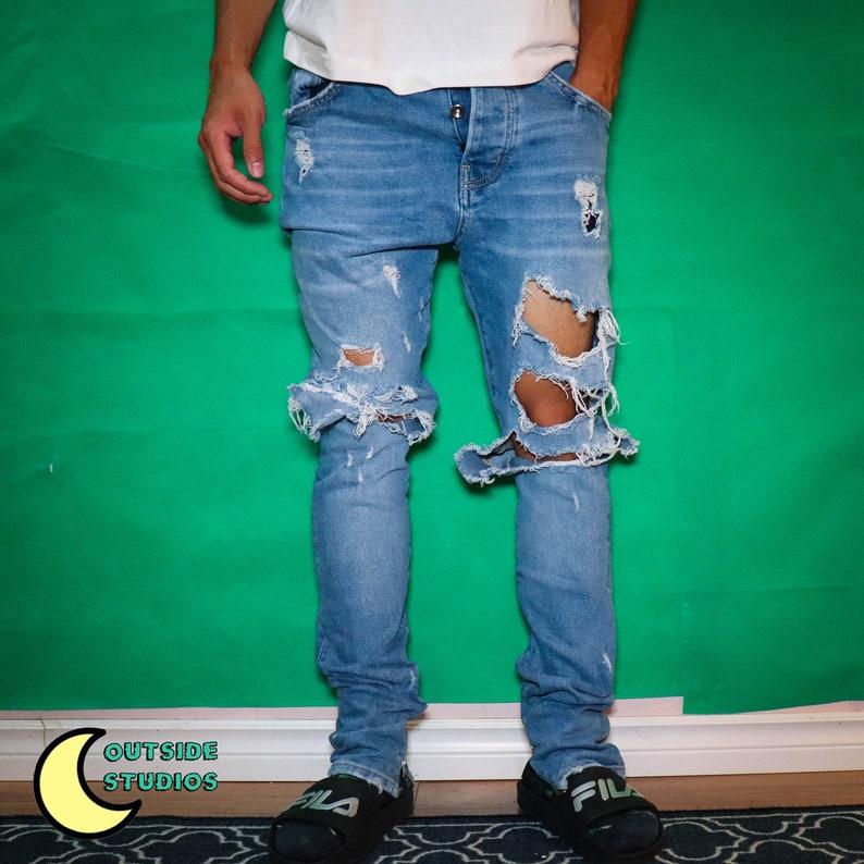 Thrashed Zipper Jeans image 0