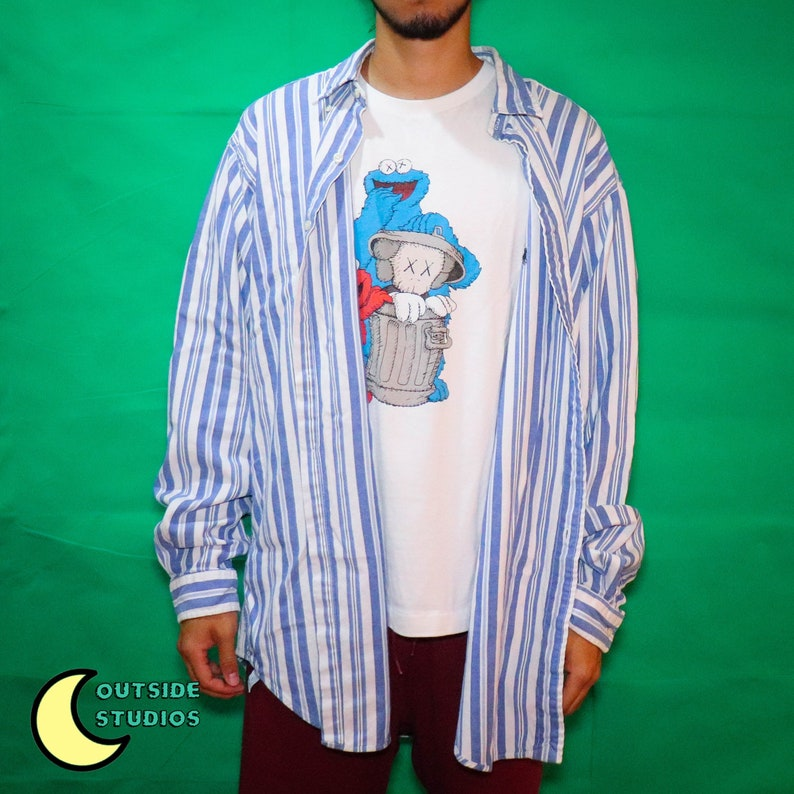 Oversized Stripe Polo Button-up Shirt image 0