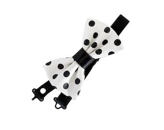 Black Leather dog Bow, wedding, tuxedo, bow, special occasion, spotted, boy, girl, collar, handmade, birthday, costume, polka dot,