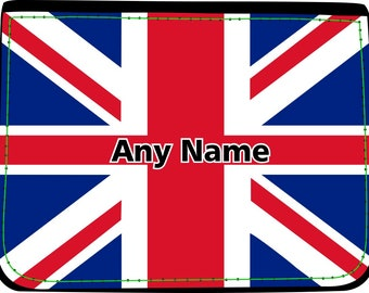 BOY/'S GIFT /& NAMED BLUE UNION JACK GB FLAG PERSONALISED GYM PE// SWIMMING BAG