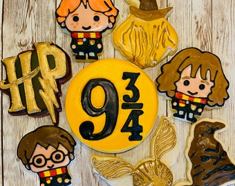 Harry Potter Decorated Cookies FREE SHIPPING Harry Potter, Hermione, Ron Weasley, Owl, Hogwarts