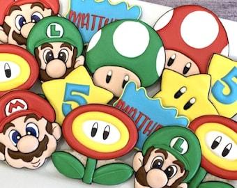 Super Mario Brothers Decorated Cookies FREE SHIPPING Mario, Luigi, Princess Peach, Yoshi, Boo, Mushroom, Star, Flower
