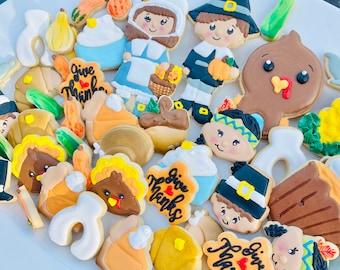 Thanksgiving Cookies Grateful Blessed FREE SHIPPING Pilgrims, Indians, Turkey, Pumpkin Pie, Wish Bone