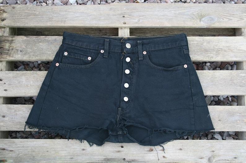 70/'s Black denim shorts made in USA