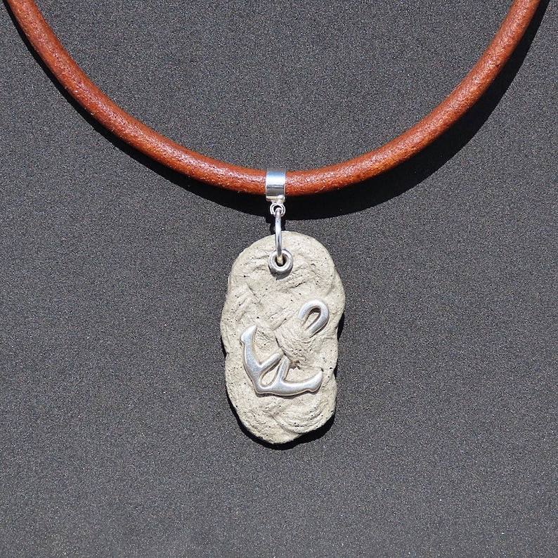 Men/'s knot necklace and navy anchor cement and silver leather