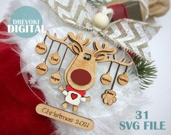 christmas ornament svg bundle, layered ornament svg, laser cut file, 3d ornament svg, multi layer svg, svg file glowforge