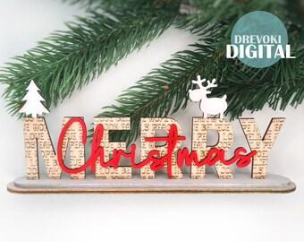 merry christmas svg laser cut file svg file for glowforge christmas decor svg leyered svg merry christmas seg deer svg tree svg