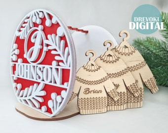 Christmas ornament SVG , christmas bundle svg,  custom ornament svg , svg file glowforge , laser cut file , christmas 2021 svg