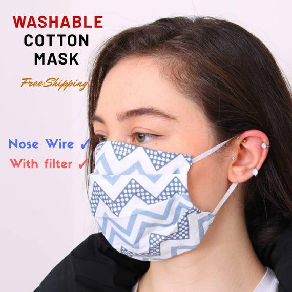 Wire Nose Face mask, reusable mask, Cotton fabrics face mask with filter, 2 ply masks, washable face mask