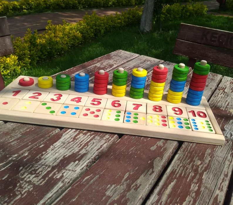 Educational Toy Wooden Sorting Number 1-10 Waldorf HomeSchool Tools Montessori Toys Kids Puzzle Colorful Learning Numbers