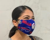 Buffalo Bills - Unisex - 100 cotton. Reusable. Beautiful, lightweight and breathable. Soft and comfortable earloops.