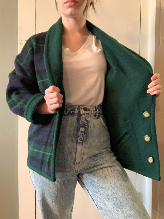 Reversible Vintage Wool Green and Blue Plaid Coat
