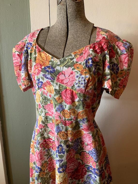 Vintage Spring Garden Multi Floral Cotton Dress  