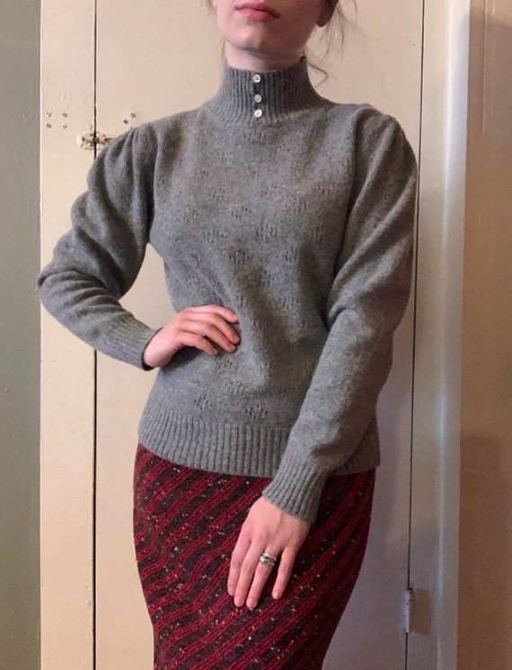 1980s Grey Wool and Angora Mutton Sleeve Eyelet Sw