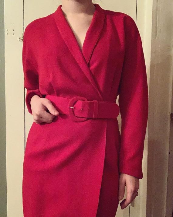 1980s 100% Wool Vivid Red Linda Allard for Ellen T
