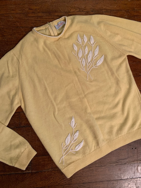 1950s Darlene Minklam Butter Yellow Wool and Angor