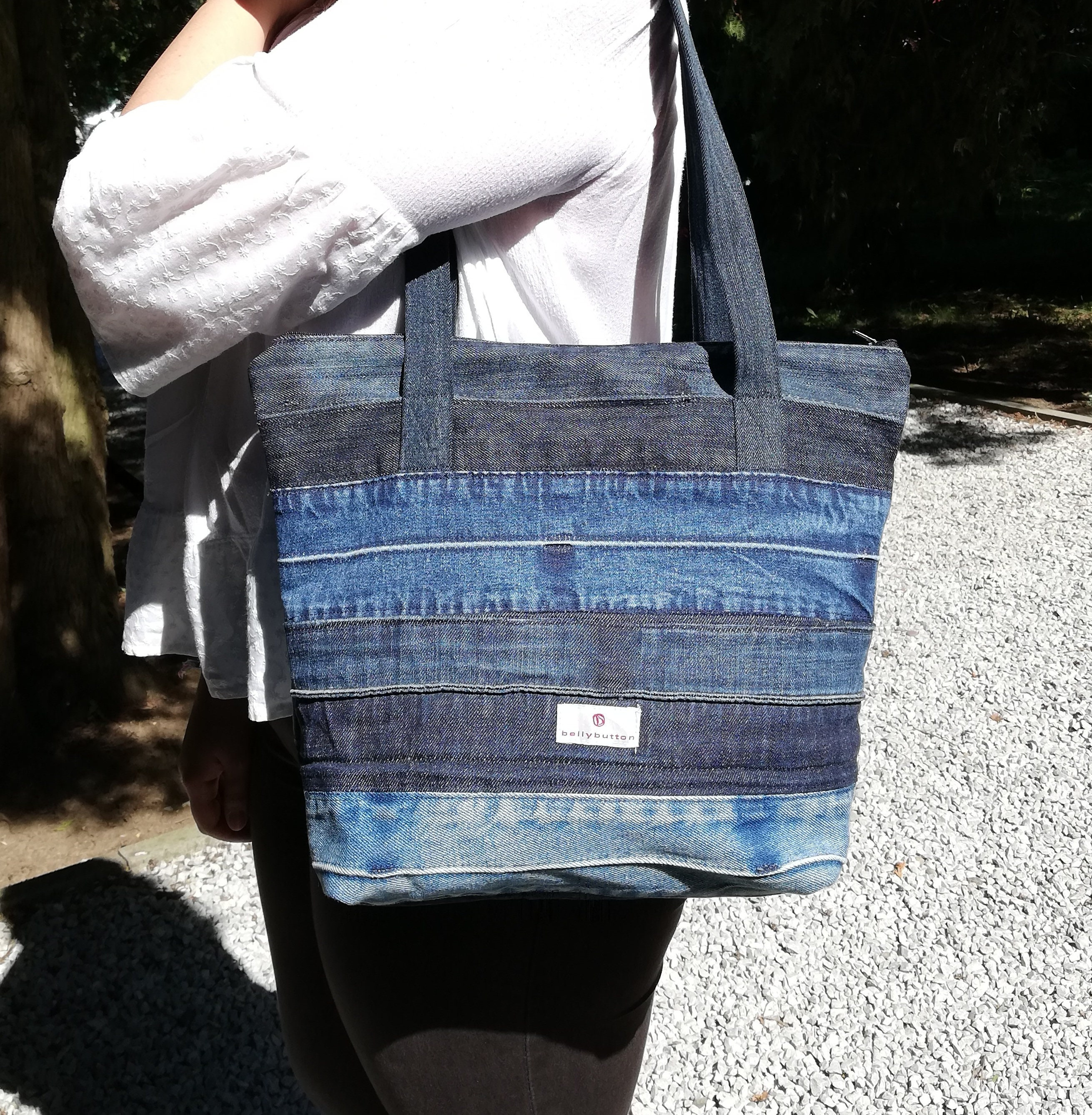 Recycled DENIM TOTE HANDBAG Shopping Skull and Bones Tote Newly Hand Crafted
