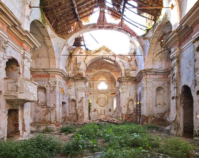 Featured listing image: Photo of a ruined church in Italy, Poster Print, Dibond, Canvas, Fine Art Hahnemühle