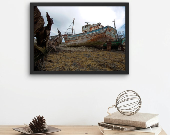 Featured listing image: Photograph of the boat cemetery in the port of Camaret sur Mer in Brittany (France), Poster Print, Dibond, Canvas, Fine Art