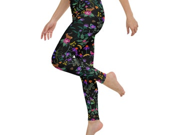 illustrated leggings handmade legging forest yoga pants handmade stretchy yoga pants Yoga leggings with black and white forest print