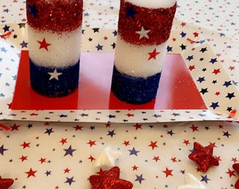 God Bless America BANBERRY DESIGNS Patriotic Candle Holder American Flag and Bald Eagle Centerpiece 4th of July Decoration Glass and Metal