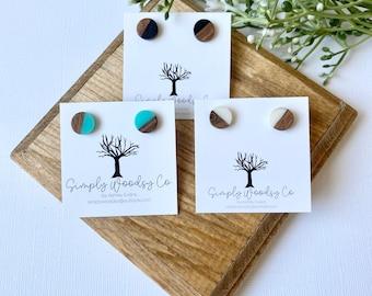Colorful Stud Earrings   Wood Stud Earrings   Resin Earrings   Wood Earrings
