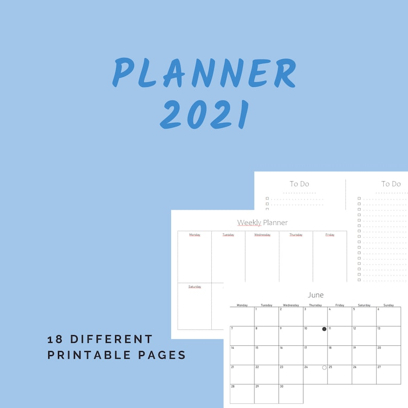 Planner 2021 Printable Calendar 2021 Monthly Pages Weekly image 0