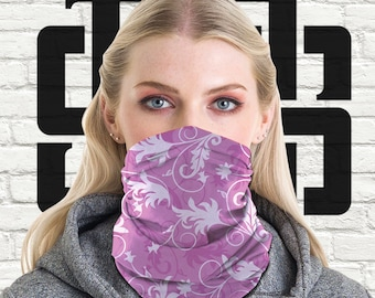 Face Mask Leaf Pattern #4 PPE Tubular Bandana Retro 60's Neck Warmer Snood Scarf Biker Multi Purpose Use Head Wrap