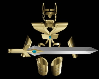 She-Ra Doll Sword Crown Set Custom Replacement Gold Metal toy accessory She Ra