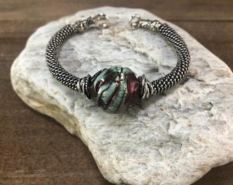 Silver and Raku Wrap Bracelet