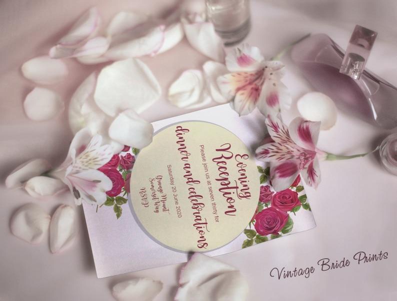 Vintage Rosa Evening Reception invitation template Floral invitation Printable Gold wedding invites set Custom Wedding Invitations Rosa