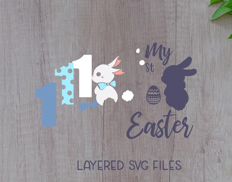 First easter Svg Dxf easter boy svg easter girl Png files printable Eps My 1st easter svg easter bunny svg cute easter svg