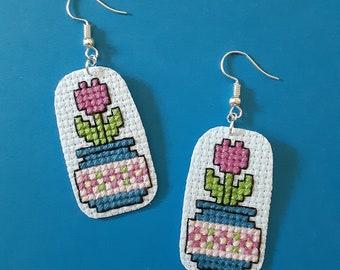 Pretty Pink Tulip in Floral Vase Handmade Cross Stitch Earrings