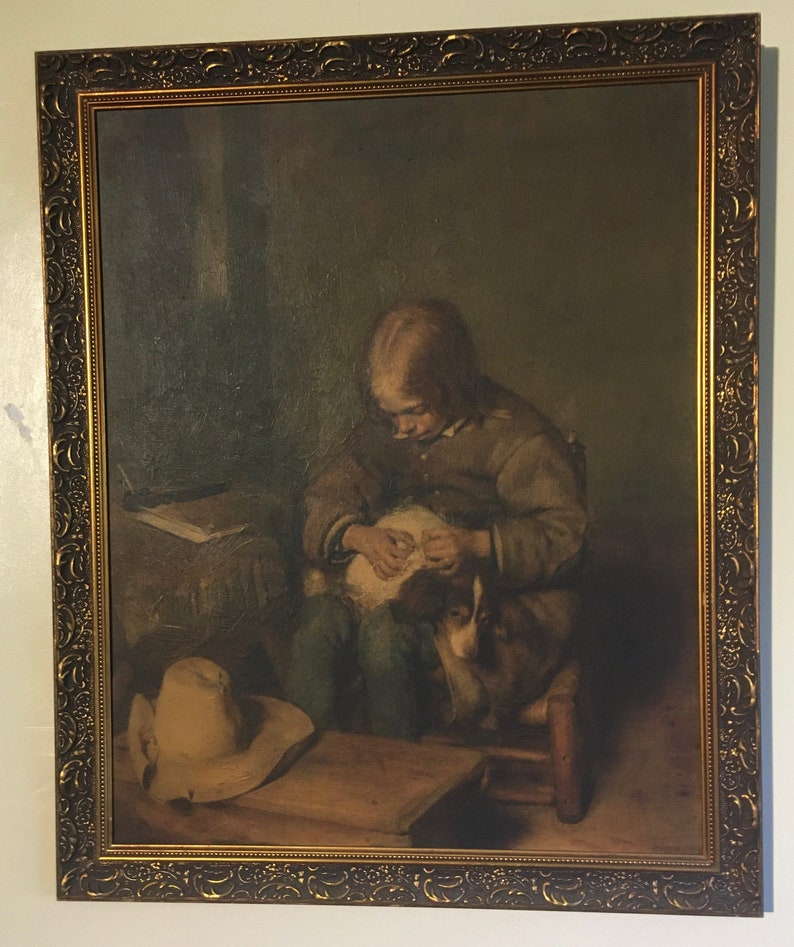 Vintage framed oil painting  /'Boy Ridding his Dog of Fleas/' by Gerard ter Borch reproduction