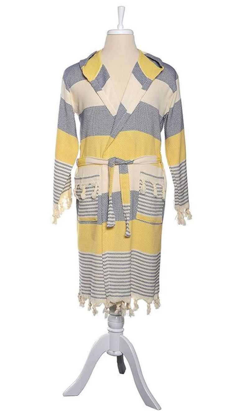 Truva Peshtemal Robes Navy Blue-Yellow G/&O Design Turkish Bath Robes