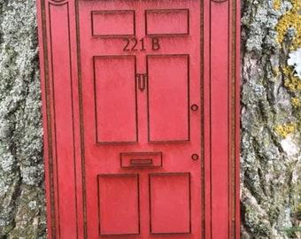 221 B Baker Street Fairy Door.  (Hand painted sturdy wooden  fairy door  with decorative  door trim.