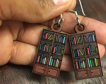 Hand painted BOOKCASE EARRINGS. ( Made from maple wood) Great for kids and adults.  Hypoallergenic and nickel free.