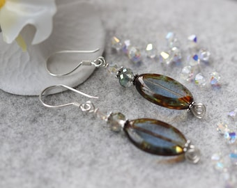 Hand made Fire burnished glass, , Swarovski crystals, Bali sterling silver Dangle Earrings