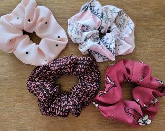 Scrunchies Hair Ties Hand Sewn Hand Made Floral Pink Purple Gray Chevron Polka Dots