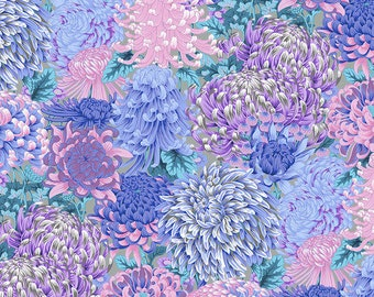 Hokusai's Mums Grey Kaffe Fassett Collective August 2021 Philip Jacobs Free Spirit Fabrics Sold BTY