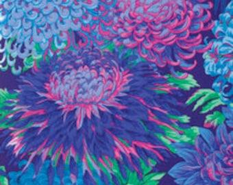 Japanese Chrysanthemum Kaffe Fabric BLUE PWPJ041.BLUEX Philip Jacobs FreeSpirit Kaffe Fassett