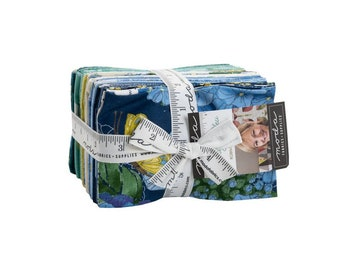 Cottage Bleu fat 8 eighth 9 x 22 inch cuts Moda Robin Pickens Blue Yellow Fabric Quilt Quilting 48690F8 Hydrangea