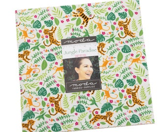 Jungle Paradise Layer Cake Stacey Iest Hsu for Moda 10 inch stacker Monkey fabric quilt