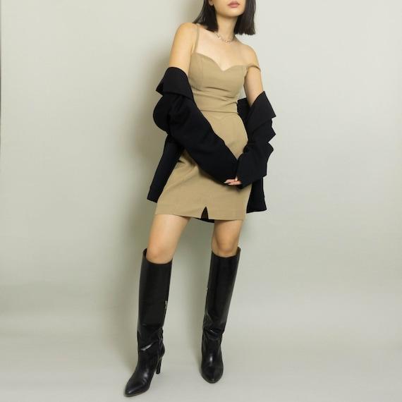 Vintage CLAUDE MONTANA Mini Dress | Beige | XS